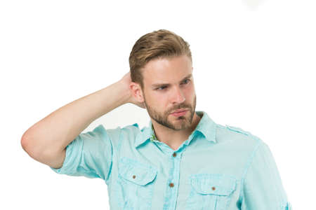 His hair speaks for itself. Handsome guy touching styled hair. Caucasian man with stylish beard and mustache hair isolated on white. Bearded man with unshaven facial hair and trendy haircut