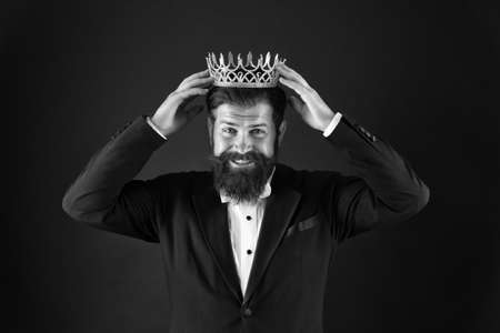 Power and triumph. Business king. Businessman wear crown. Business success concept. Glory seeking man. King of style. Best man on Earth. Achieving business success. Royal and luxury. Handsome worker
