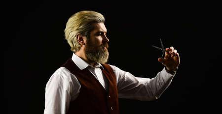 Vintage barbershop. Barber tools. Barbershop services. Keep yourself looking groomed all year round. Hipster Barber. Vintage style man with beard and moustache. Barbershop. Mature man with dyed hair
