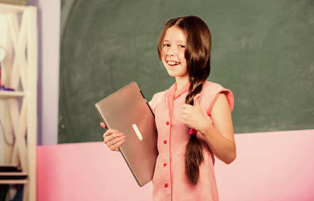 Digital technology. Surfing internet. Study programming web design. Blogging hobby. Girl laptop computer. Little child using notebook. Develop own blog. Personal blog. Social networks and blog
