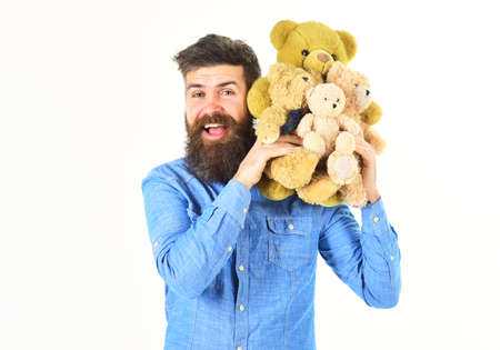 Man holds teddy bears Pretty toy concept.