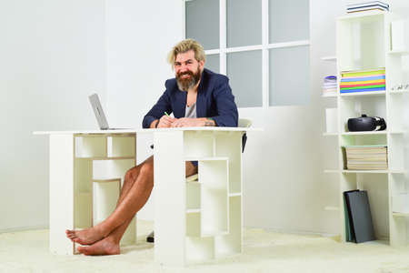 Home is best office. Online education. Freelancer working from home. Man working on laptop at home. Comfortable workplace. Developer work computer. Social networks communication. Social distancing