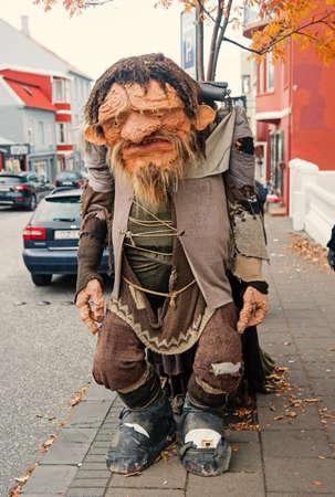 Reykjavik, Iceland - October 12, 2017: funny troll figure on street. Ugly troll figure. Funny and ugly at the same time Sajtókép
