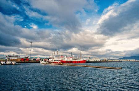 Reykjavik, Iceland - October 13, 2017: ship in sea port. Boat travel. Ship a sea. Ship acoustic navigation system. Boat ahoy. The world is yours, travel more Sajtókép