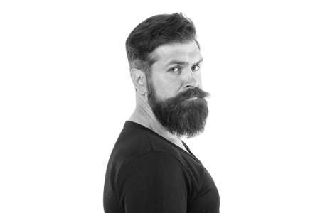 Male portrait. You will look unkempt while waiting for beard grow. Have patience to keep beard untouched. Hipster appearance. Beard fashion. Man bearded hipster stylish mustache. Tips maintain beard