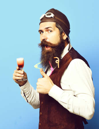 funny handsome bearded pilot Zdjęcie Seryjne