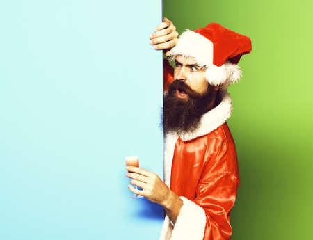surprised bearded santa claus man Zdjęcie Seryjne