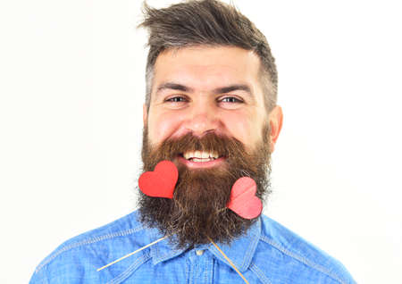 Romantic mood concept. Man with re hearts in his beard. Love and romance. Banco de Imagens
