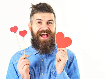 Bearded man greeting with Valentines day isolated on white.