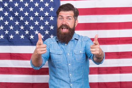 American man journalist reporter USA flag background, welcoming concept