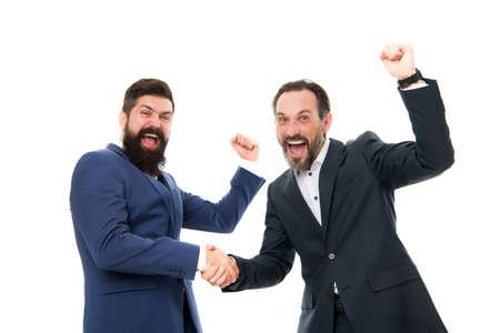 Congratulations, we did it. Happy businessmen express congratulations. Bearded men celebrate success. Congratulations on business deal. Handshaking and offering congratulations. Congrats. Hooray Reklamní fotografie