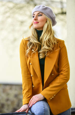 Shop vintage clothing. Spring clothing. Quality never goes out of style. Elegant woman wear jacket and beret hat. Stylish parisian lady. Apparel for fall season. Fashion beauty. Autumn female outfit