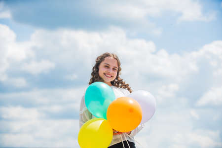 Freedom concept. Happiness is simple. Fresh air. Cheerful girl have fun. Happy birthday. Summer holidays and vacation. Childhood happiness. Adorable joyful teen celebrate party. Happiness concept