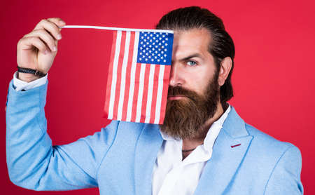 Liberated in every way. fourth of july. independence day of america. education of patriotism. Liberty. Proud of his land. bearded man is patriot. businessman with american flag