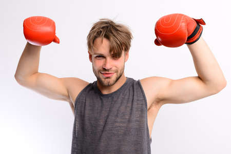 Boxing and sports concept. Athlete with leather box equipment