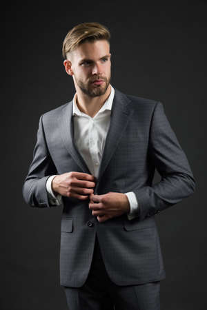 Man button formal jacket. Perfect to last detail. Handsome businessman. Confidence and success. Male fashion look. Best manager ever. Bride groom at wedding. Business fashion and style Standard-Bild