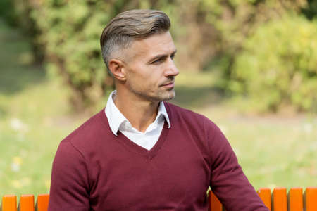 mature handsome man relax outdoor. well groomed man sit on bench. confident businessman wear purple sweater. casual business fashion. male beauty and fashion