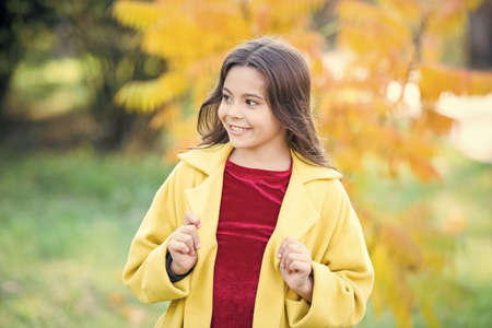 School time. weather forecast. fallen leaves in forest. autumn nature. school season fashion. happy little child outdoor. girl with maple leaf. walking in park. trendy girl in autumn coat