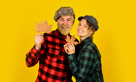 Happy relations. Couple in love stylish outfit. Having fun. Cheerful couple dating in september. Autumn mood. Family tradition. Couple wear checkered hats and shirts. Vintage style. Romantic feelings Stock fotó