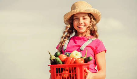 Food choices. healthy food for children. little girl vegetable in basket. Only natural. kid on summer farm. Organic food. happy little farmer. autumn harvest. harvest vitamin. spring market garden