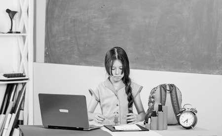 Personal blog. Blogging hobby. Study programming web design. Programming courses. Girl laptop computer. Little child using notebook. Digital technology. Surfing internet. Programming language Stock fotó