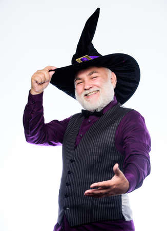 Halloween tradition. Cosplay outfit. Wizard costume hat Halloween party. Senior man white beard celebrate Halloween. Magician witcher old man. Magic concept. Experienced and wise. Magic spell