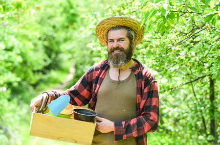 harvesting and agriculture. mature man on ranch. world earth day. ecology and environment protection. Gardening. Set Of Tools For Gardener And Flowerpots. planting at home