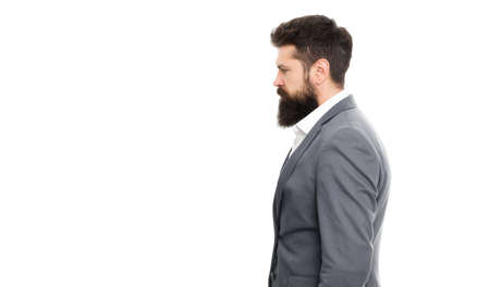 Fashion is freedom. Confident businessman. Formal fashion. Bearded man hipster in jacket. Business success. Beard fashion in profile. Male fashion look. Bearded man in formal suit