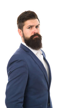 Businessman concept. Brilliant lawyer. Successful businessman well groomed appearance. Serious motivated entrepreneur. Confident businessman handsome bearded man in formal suit. Business people