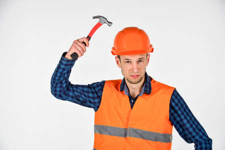 Man repair master knoking own head claw hammer, feeling protected concept