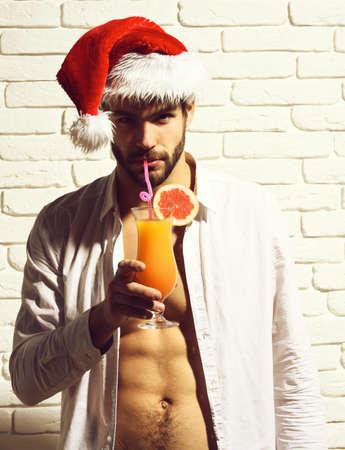 handsome bearded sexy christmas man Фото со стока
