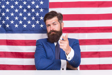 You ready. Publicity agent point finger american flag background. Immigration to USA. Publicity and advertising. Application for citizenship. Publicity board. Publicity for visa application center