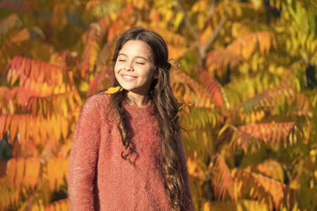 Autumn puts her in good mood. Happy small girl in autumn mood outdoors. Little child play on fresh air on autumn day. Setting fall mood. Good mood good day