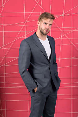 Businessman. serious man. Feel the success. confident businessman in suit. Male formal fashion. Business fashion and dress code. sexy man in stylish jacket. Project management. Feeling relaxed Foto de archivo