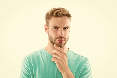 Beard grooming. Beard barber. Barbershop concept. Hairdresser salon. Product for styling male hairdo. Trimming bristle. Facial hair become more fashionable. Handsome guy with stylish beard shape