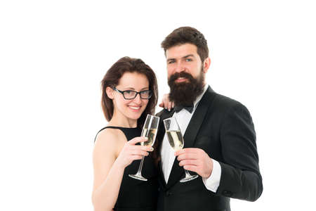 business corporate party. cheers concept. couple in love. man in tuxedo with   lady. formal couple drink champagne for partnership. successful people business event. family celebrate holiday