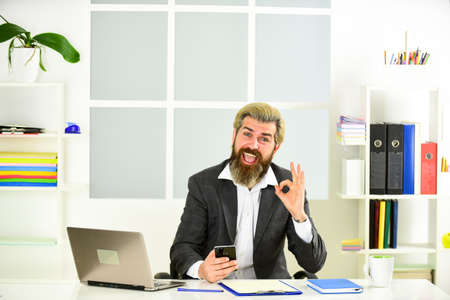 working from home while virus epidemic. handsome CEO. Busy mature man in office. Businessman with computer. businessman in office. employee during working day in office Stockfoto