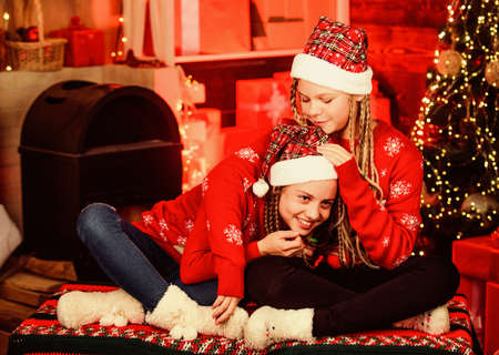 Girls friends soulmates celebrate christmas. Happy holidays. Fun and cheer. Best friends forever. Lovely kids. Children cheerful christmas eve. Happiness joy. Joyful christmas. Friendly relations Stock Photo