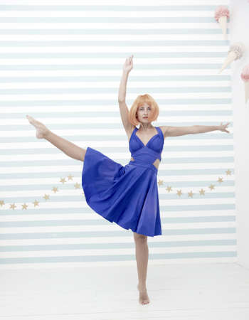 dance studio for everyone. crazy girl in dance studio. crazy girl dancer in ballerina pose. woman dancing at contemporary or classic class. skillful dancer performer. i can be a star