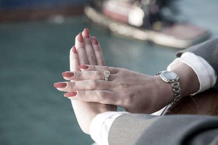 Elegant female hand background.