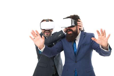 Business innovation. Vr presentation. Men vr glasses modern technology. Virtual business. Online business concept. Men bearded formal suits. Digital and cyber technologies. Experimental experience 免版税图像