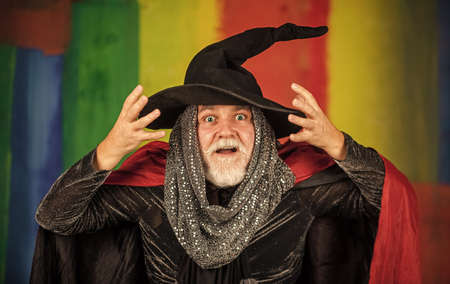 Magic of magician. Experienced and wise. Wizard costume hat Halloween party. Halloween wide banner. Halloween decoration and scary concept. 31 october. gothic man in Halloween costume