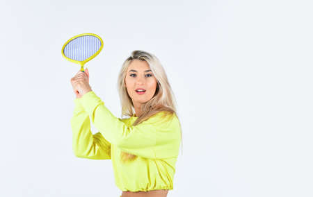 Pushing to limit. focus on racket hit ball. professional tennis player. world tennis tour. full of success. sportswear and equipment. tennis player prepare to match. woman playing tennis at the court Banque d'images