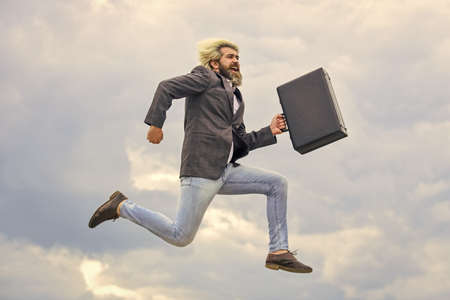 Business success. successful male boss. rush hour. deadline. businessman hurry up with case. brutal mature man in jacket carry briefcase. running to business meeting. suitcase for office life