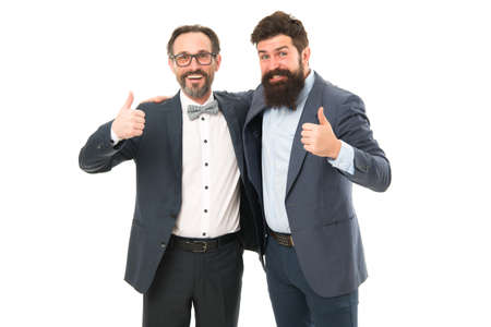 Men bearded wear formal suits. Well groomed business men. Successful partnership. Achieve success. Men entrepreneurs white background. Inspired to work hard. Business team. Business people concept