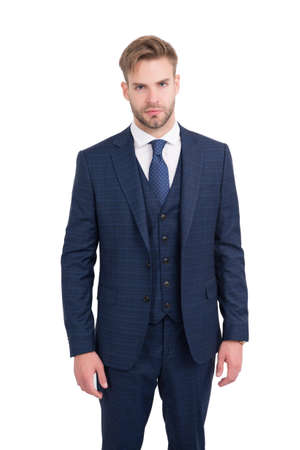 Professional manner and smart appearance. Handsome man in business suit isolated on white. White collar employee. Formal fashion style. Professional occupation and career. Dressing professionally