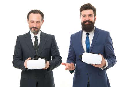 Digital business concept. Men bearded formal suits. Digital and cyber technologies. Experimental experience. Business innovation. Vr presentation. Men vr hmd modern technology. Virtual business
