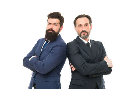 partnership of boss men isolated on white. collaboration and teamwork. men have own business. business meeting. team success. partnership of bearded businessmen in formal suit. partnership concept