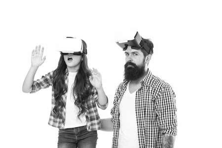 father and daughter in vr glasses. amazed kid with dad use modern technology. digital future innovation. daddy show small girl virtual reality. rich imagination. care about her future