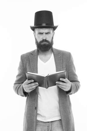Dramatic look. Reading dramatic scenario. Bearded man read book isolated on white. Poetry reading. Inspirational book. Literature teacher. Books shop. Interesting story. Guy classic outfit read book
